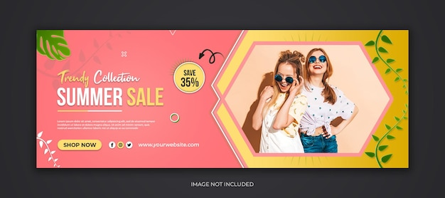 Venda de verão mídia social capa do facebook e modelo de banner da web