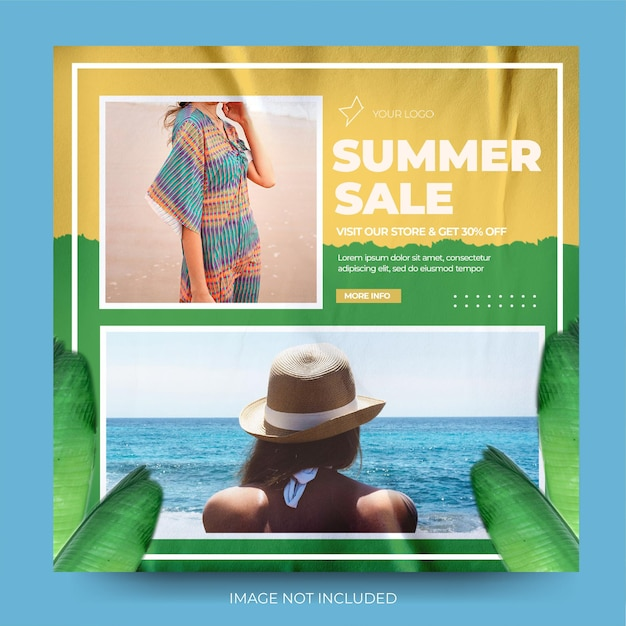 Venda de verão moda moda em dois tons estilo post feed instagram