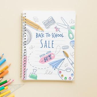 Venda de volta a itens escolares com 50% de desconto