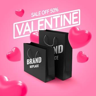 Venda do dia dos namorados com maquete realista de sacola de compras
