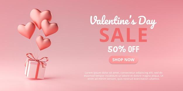 Venda do dia dos namorados em forma de coração balão com caixa para presente renderização 3d