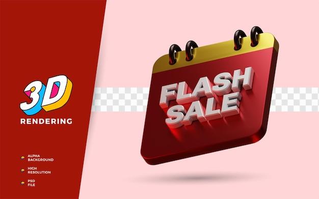 Venda flash dia de compras com desconto no festival ilustração em 3d do objeto renderizado