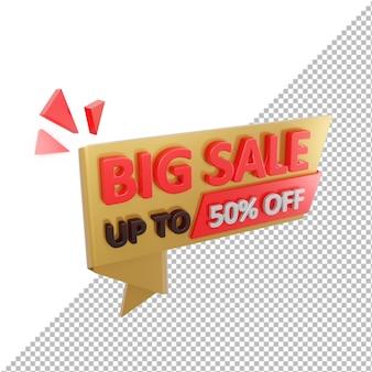 venda grande do emblema 3d com até 50% de desconto isolado