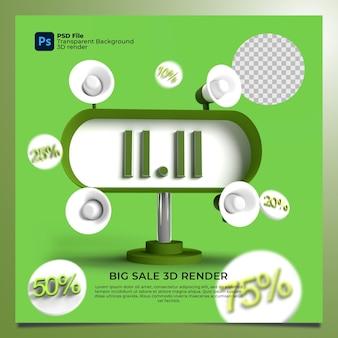 Venda relâmpago 11 de outubro de 1010 renderização 3d com cor verde