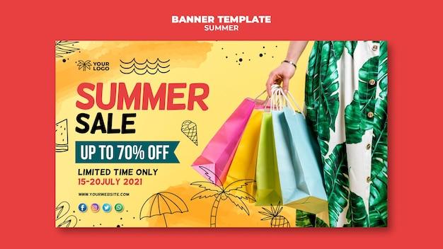 Vendas de banner de verão e sacolas de compras