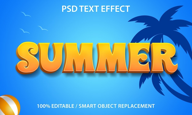 Verão de efeito de texto editável
