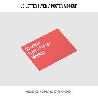 Vermelho nos panfleto de carta ou cartaz mockup