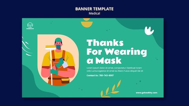 Vestindo máscara conceito banner template