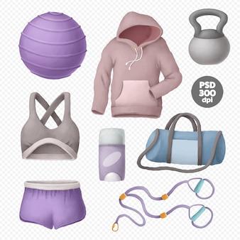 Vestuário e equipamentos de fitness isolados