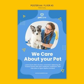 Veterinário feminino e modelo de cartaz veterinário de cachorro fofo
