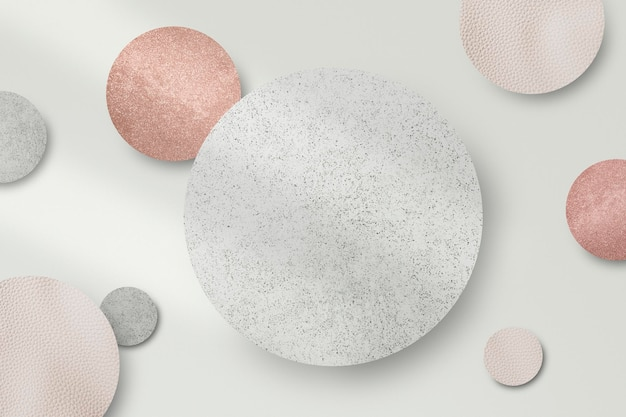 Vetor de fundo redondo de prata cintilante e rosa