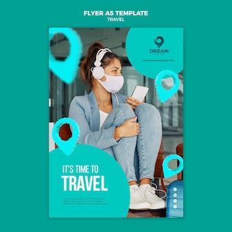 Viagem com máscara a5 modelo de folheto
