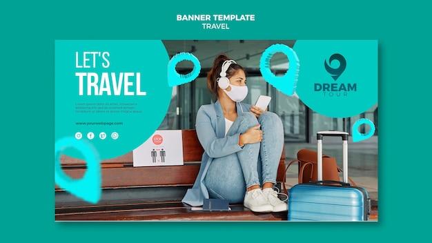 Viagem com modelo de banner de máscara