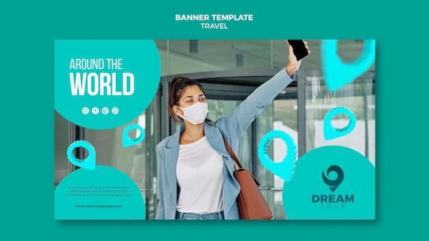 Viagem com modelo de banner horizontal de máscara