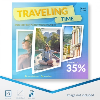 Viagem de verão oferecer modelo de postagem de mídia social