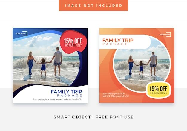 Viagem família viagem mídia social banner