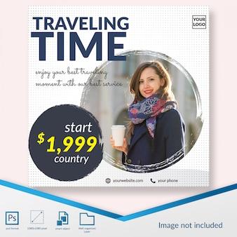 Viagem tempo oferecer mídia social postar banner modelo