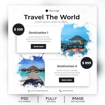 Viagens férias férias post banner ou panfleto quadrado