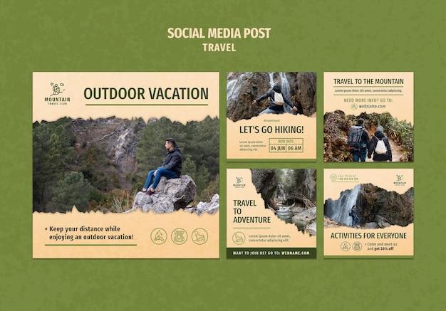 Viajando em postagens de mídia social com foto