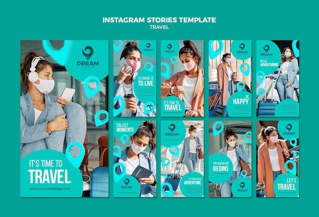 Viaje com máscara de modelo de histórias do instagram