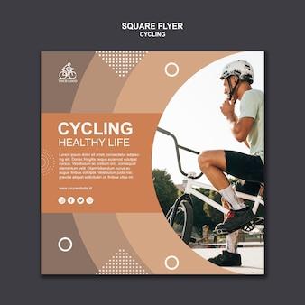 Vida saudável de ciclismo panfleto quadrado
