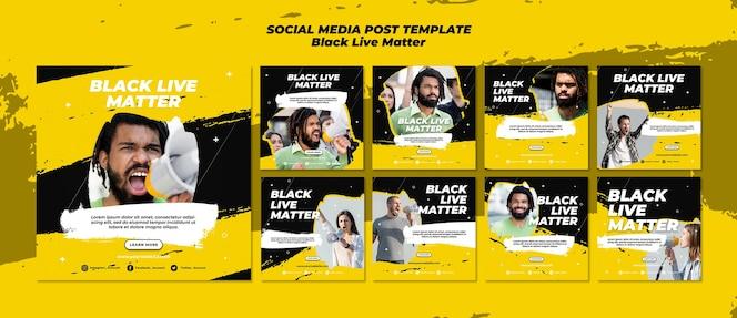 Vidas negras importam post de mídia social