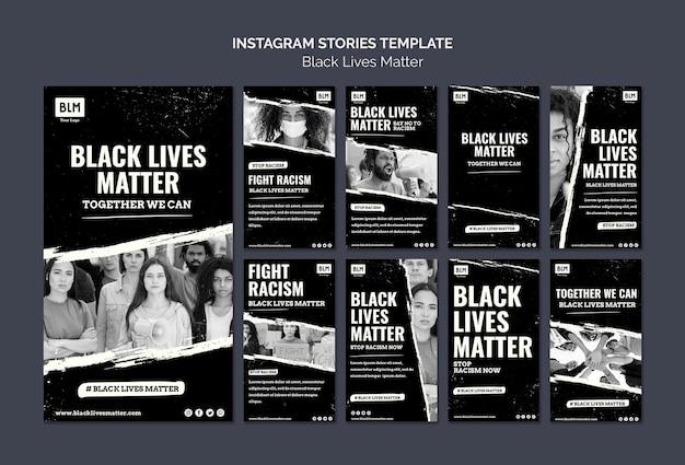Vidas negras minimalistas importam histórias de mídia social