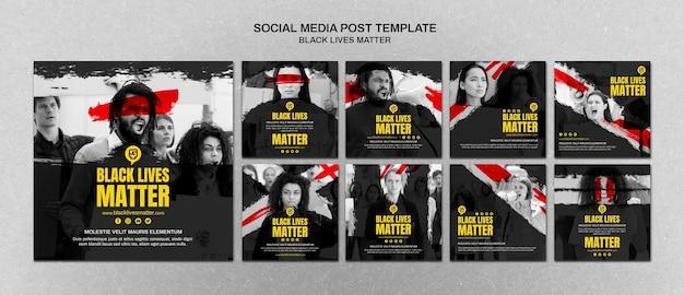 Vidas negras minimalistas importam posts de mídia social com foto