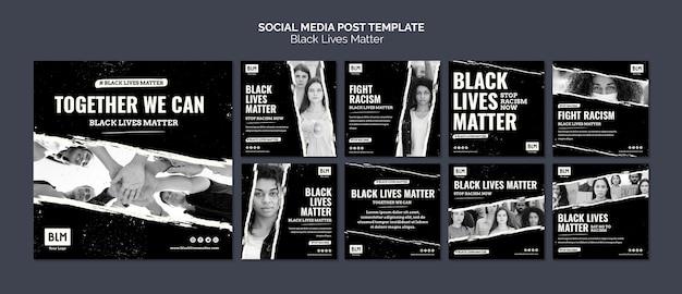 Vidas negras minimalistas importam posts de mídia social