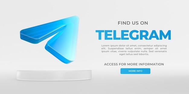Vidro do banner telegram com renderização 3d transparente