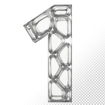 Vidro isolado 3d letra 1