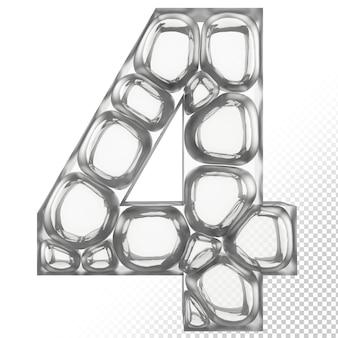 Vidro isolado 3d letra 4