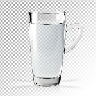 Vidro transparente e realista de água isolado