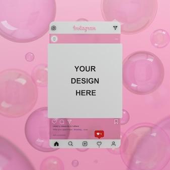 Vidro transparente instagram postar maquete de fundo de bolha rosa em mídia social 3d render