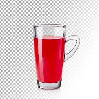 Vidro transparente realista de suco vermelho isolado