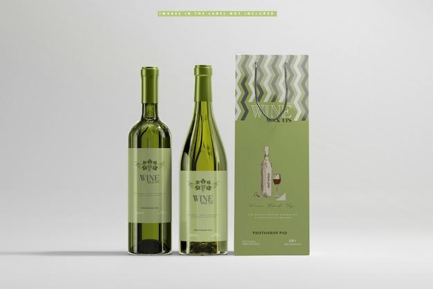 Vinho branco com maquete de saco de papel
