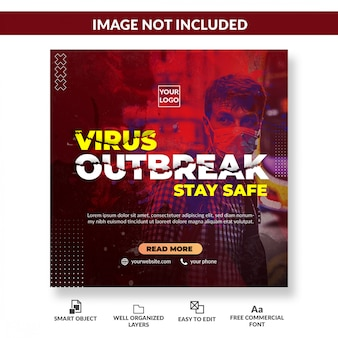 Vírus aviso mídia social banner post quadrado. conceito de coronavírus