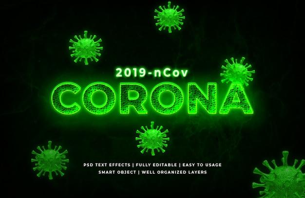 Vírus corona verde estilo de texto 3d