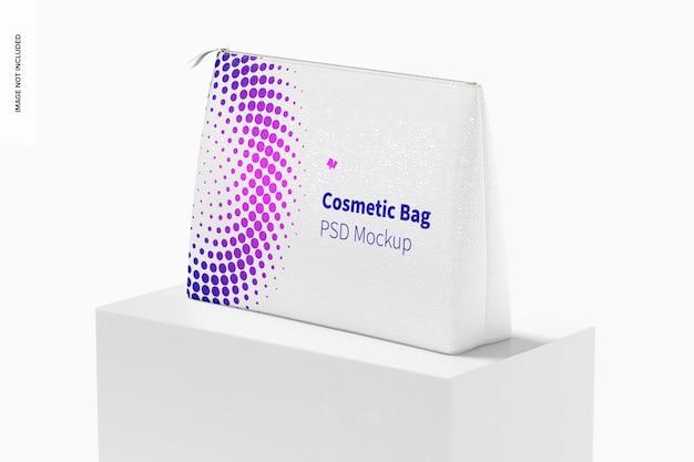 Visão em perspectiva de maquete de bolsa de cosméticos