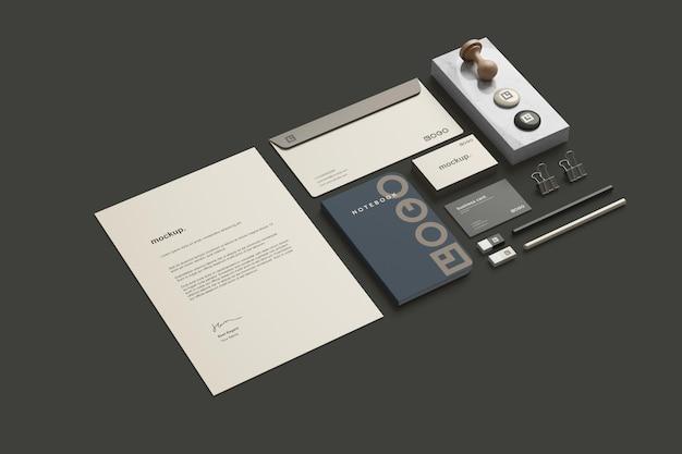 Visão em perspectiva do modelo de branding de papelaria corporativa