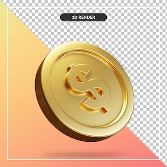 Visor 3d da moeda de dólar dourado isolado