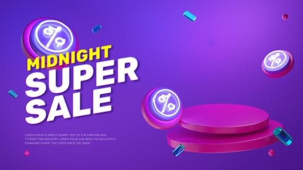 Visor de produto de pódio com luz de néon roxa