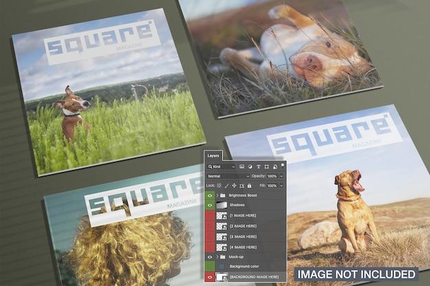 Vista alta de quatro revistas quadradas cobre maquete