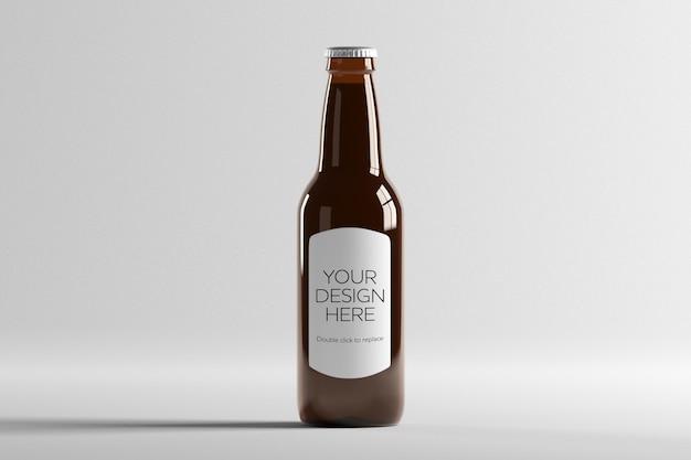 Vista da maquete de uma garrafa de cerveja de vidro
