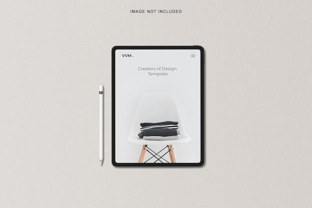 Vista de ângulo superior da maquete do tablet