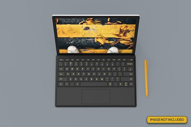 Vista de ângulo superior da maquete realista de tablet