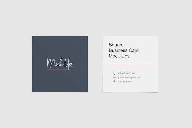 Vista de ângulo superior de maquete de dois cartões quadrados