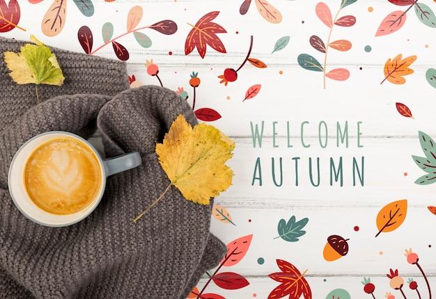 Vista de outono e mensagem de boas-vindas