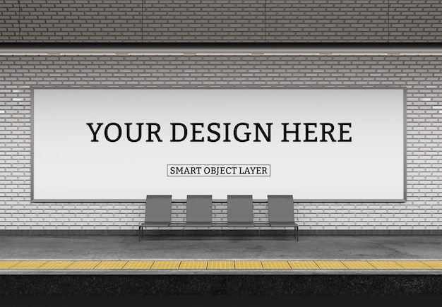 Vista de um modelo de outdoor de metrô