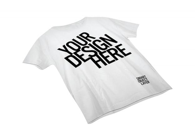 Vista de uma camiseta branca maquete